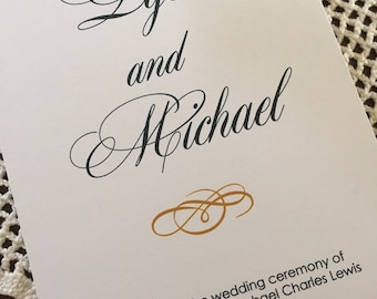 Wedding programs, 5 x 7 folded program