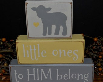 Little Ones to HIM Belong Nursery Lamb Children's Name Wood Blocks sign