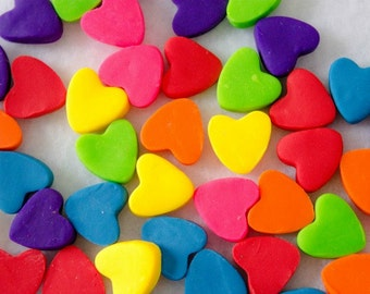 Colorful Polymer Clay Heart Cabochons - Set of 25