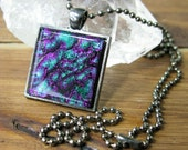 Joker Purple-Green Glass Lava Pendant, Square Glass Necklace, Calgary glass Jewelry, Dichroic Pendant, Fused Glass Jewelry, Neckalce