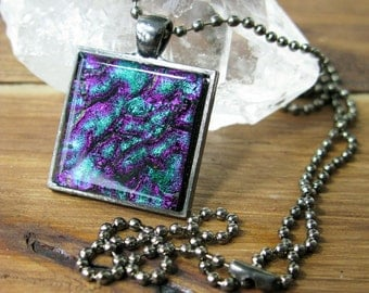 SALE, coworker gift, pendant necklace, gifts under 25, dichroic glass, fused glass pendant, glass jewelry, colourful jewelry