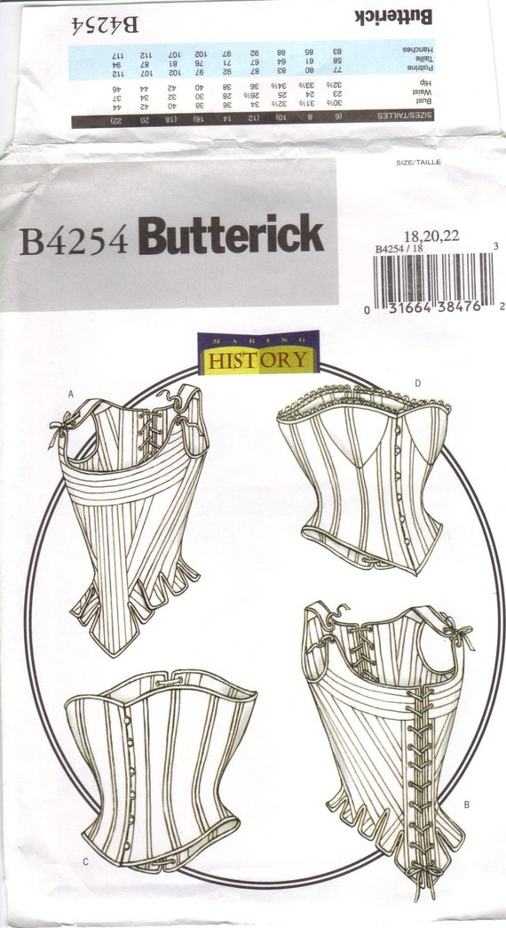 Victorian Dresses- Patterns, Costumes, Custom Dresses corset overbust corset stays Victorian Edwardian undergarment stays Butterick B4254 size 18 20 22 curvy girl plus size pattern bust 40 42 44 $11.49 AT vintagedancer.com