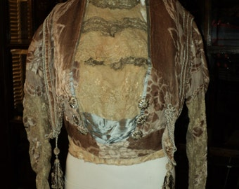 Antique Edwardian/Victorian Fancy Bodice Silk Velvet, Lace, Beaded Tassels, Metallic Lace, Beaded Buttons, Museum Quality Historical