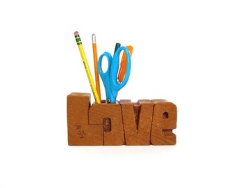 Vintage Block Letter Love Desk Organizer, Pencil and Pen Holder, Back to School, Groovy 1970s Mod Office Accessory