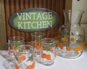 Federal Handi Serv Small Glass Orange Juice 5 Pc Carafe Serving Set