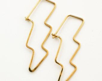 1 Pair Lightning Strikes Twice Earrings - 18 gauge Brass, Bronze, Copper, Stainless Steel