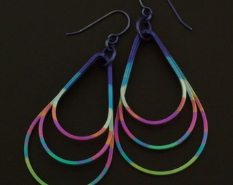 Stacked Teardrop Hoops - Square Wire Earrings in Anodized Titanium - Many Color Choices