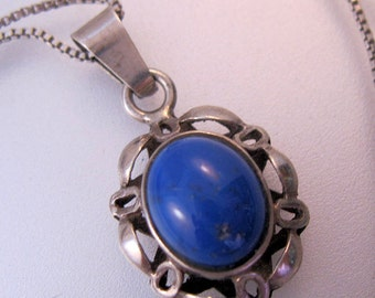 "Lapis Sterling Silver Pendant & 16"" Necklace Vintage Jewelry Jewellery"