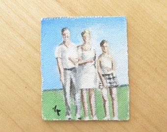 Tiny Acrylic Painting- Unfraimed Original Miniature Painting- Family Portrait- Handpainted Small Art