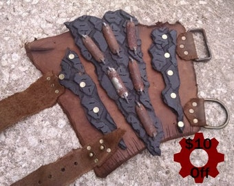 ON SALE -- Scavenged Leather Bracer -- burning man wasteland weekend tire scraps fallout raider armor larp  barbarian viking post apocalypse