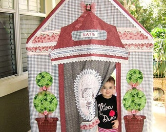 One-Of-A-Kind Children's Playhouse - English Cottage Gray and Pink Indoor Outdoor - Battenburg Lace Windows - Vintage Fabric - Personalized