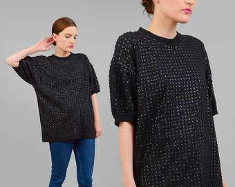 Vintage 80s Black SEQUIN T-Shirt Minimal Oversize Slouchy Tee Shirt 1980s Beaded Top S M L One Size