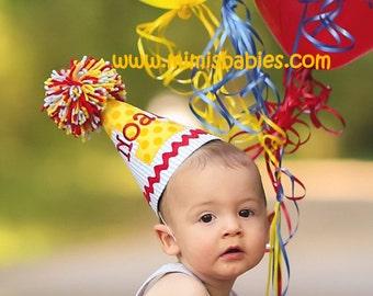 Blue Seersucker Birthday Hat,  Blue Yellow and Red Birthday Hat, First Birthday Hat