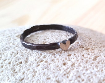 New Listing Sale...Oxidized Dark Sterling Silver 925 Minimalist Heart Ring. Size 7. Perfect Gift. Etsy Gift