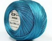 Ocean Blue Mimosa Size 10 Microfiber Crochet Thread - Ice 39151 - 50 gram 273 yards - Bedspread, Needlepoint, Cross Stitch, Fiber Jewelry