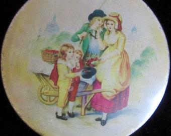 Vintage English Figural Biscuit Tin, England