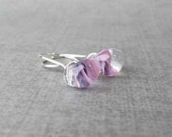 Small Lilac Earrings, Light Purple Dangle Earrings, Purple Earrings Lampwork, Silver Wire Dangles, Sterling Silver Small Earrings Lilac
