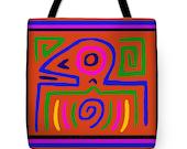 Tribal Inca Bird Head Printed PolyPoplin Tote Bag - Cotton Printed Throw Pillow - Tribal Shaman Bag - Diaper Bag - Laptop Bag - Recycle Bag