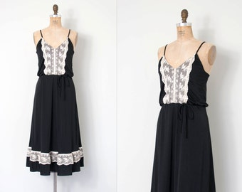 vintage 1970s dress / black and white lace 70s dress / Estivo