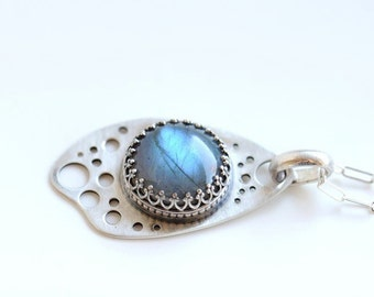 Labradorite pendant, ethereal jewelry, perforated silver necklace