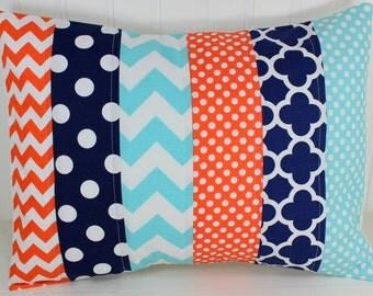 Pillow Cover, Baby Boy Nursery Decor, Patchwork Pillow Cover, Crib Bedding, 12 x 16 Inches, Navy Blue, Orange, Aqua Blue, Chevron, Dots