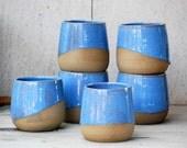 Ceramic cup, blue ceramic mug, handless pottery mug, blue pottery,