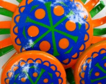 Enamel Brooch Earrings Set Vintage Costume Jewelry Pin Orange Green Blue Flower