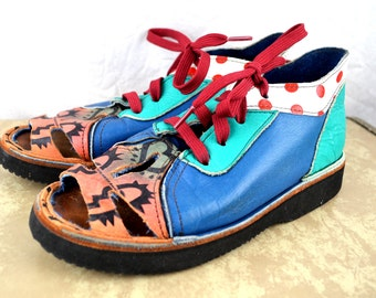 Amazing Rare Vintage Hand Painted Leather Shoes