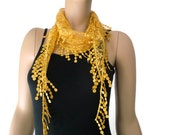 Corn yellow lace scarflette for multi use ,Yellow scarves-Neck and head scarf