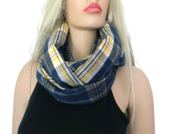 Navy Blue  and yellow plaid flannel infinity scarf/ cowl /Loop scarf unisex flannel Navy blue ,yellow tartan Infinity Scarf