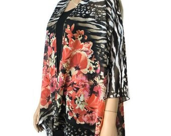 Boho Kimono cardigan - Zebra,Animal print and floral-chiffon kimono--Ruana-Many colors
