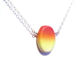 Sunset Shimmer Necklace - Sterling Oval Chain, Sunset Orange, Understated Elegant, Dainty Light Fun, Gradient Ombre, Red, Orange, Yellow