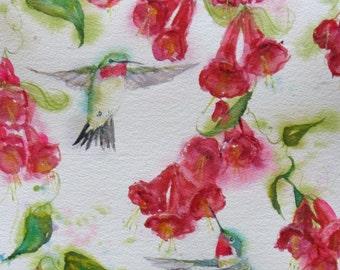 hummingbird painting, original hummingbird art, bird watercolor, large hummingbird fuschia painting, 11 x 15 art, abstract bird watercolor,