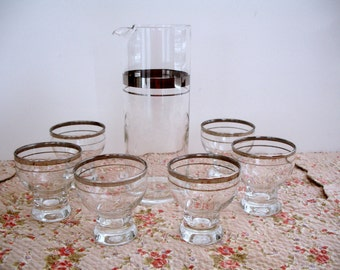 Mid Century Barware Set Silver Bands Pitcher and 6 Glasses Roly Poly Vintage Glassware