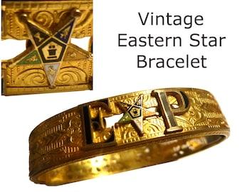 Vintage Bracelet. Order Eastern Star Logo on Gold Tone Bangle. Initials EP. Fits Med to Large Wrist. Fraternal FreeMasons Group for Women.