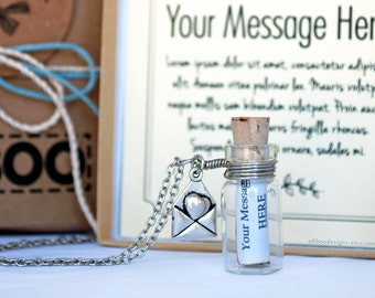 Personalized Message in a Bottle Necklace - Custom Anniversary Gift - Cute Message Necklace - Custom Jewelry - Gift Wrapped - Ships Fast!