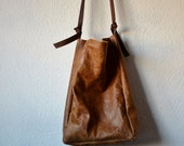 Leather bag brown hand stitched his hers traditional classic adjustable straps handbag shopper tote natural rustic minimal  made to order
