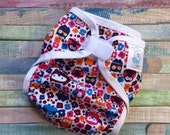 Owl Garden Polyester PUL Cloth Diaper Cover With Aplix Hook & Loop Or Snaps You Pick Size XS/Newborn, Small, Medium, Large, or One Size