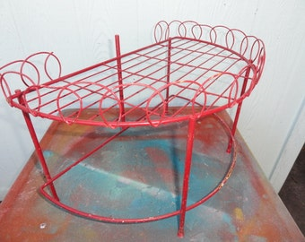 Vintage Shelf French Metal Wire Shabby Chic Red Wall Decor or Freestanding
