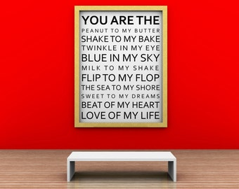 """Valentines  SUBWAY ART  - """"You Are The....""""- Vinyl lettering wall decal sticker gift,Design Divas 1221"""