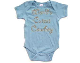 Apericots World's Cutest Cowboy Country Boy Short Sleeve Baby Bodysuit