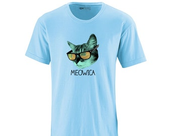 Apericots Cool Kitty Cat American Flag Sunglasses Meowica Adult Tee Shirt