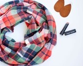 Infinity Scarf, Scarf, Scarfs, Scarves, Womens Scarves, Shawl, Cowl, Scarves For Women, Baby Scarf - Navy, Green, Orange Plaid Flannel