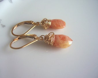 Sunstone and gold wire wrapped dangle earrings, sunstone jewelry, gemstone jewelry