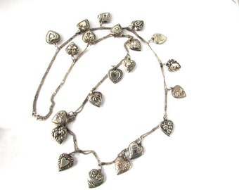 Puffy Heart Charm Necklace Sterling Silver Vintage Antique Art Nouveau Charms Valentines Day Paste