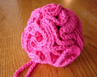 Crocheted Bath Scrubbie in Deep Pink