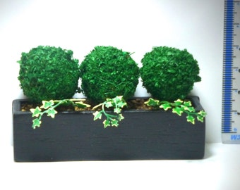 3 TOPIARY TREES hand painted ivy black wooden planter Dolls House Miniature  Handmade 12th