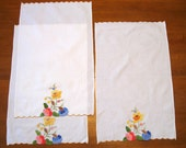 3 Flower Towels, Vintage, Applique Flowers, Hanging Towels, Kitchen supplies, Hostess Gift, Sewing Supplies, Quilting,  by NormasTreasures