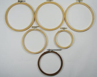 Wooden Embroidery Hoops 6 Small Vintage Wooden Hoops