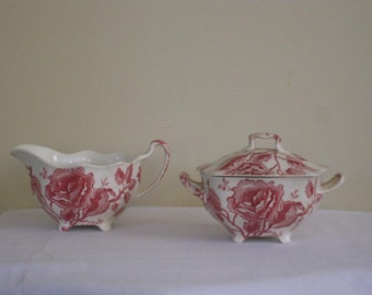 Vintage Johnson Brothers English Chippendale Pink and Red Roses Creamer and Sugar, Scalloped rim with Creamy White Background, England China